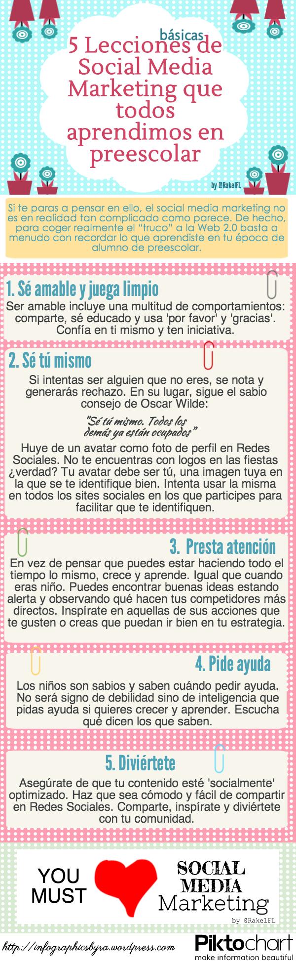 5 Lecciones Básicas de Social Media Marketing que todos aprendimos en preescolar [infografía en español], by @RakelFL